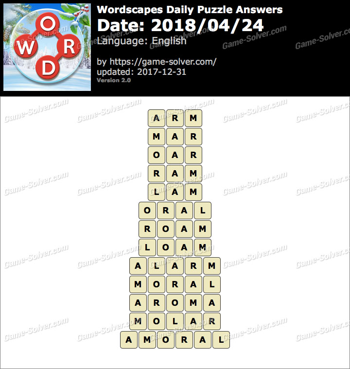Wordscapes Daily Puzzle 2018 April 24 Answers