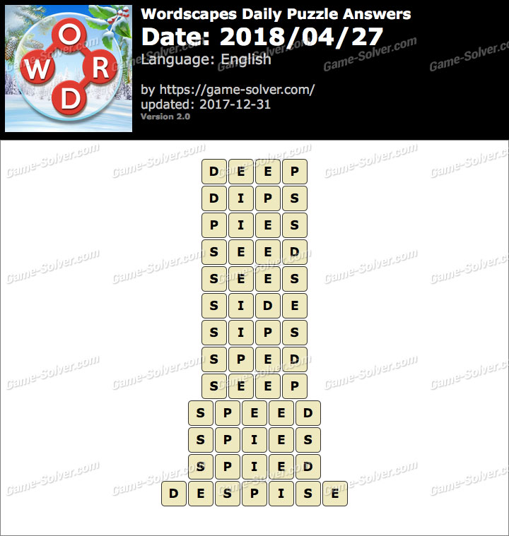 Wordscapes Daily Puzzle 2018 April 27 Answers