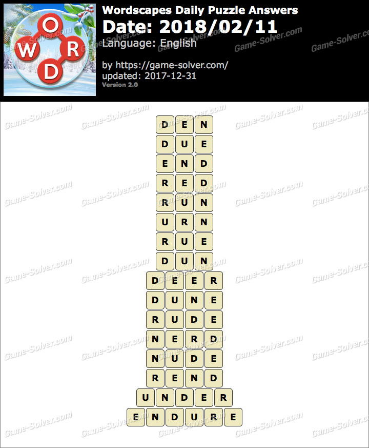 Wordscapes Daily Puzzle 2018 February 11 Answers
