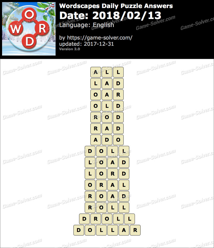 Wordscapes Daily Puzzle 2018 February 13 Answers