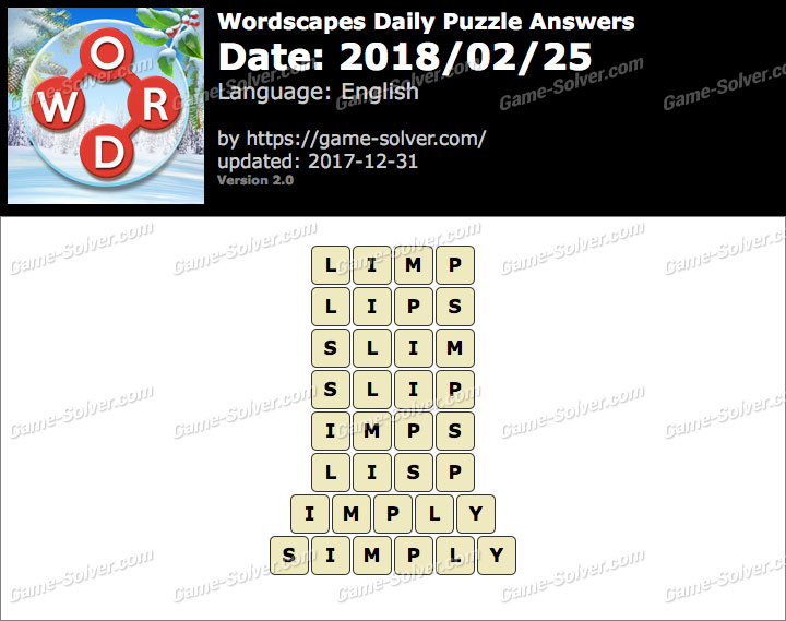 Wordscapes Daily Puzzle 2018 February 25 Answers