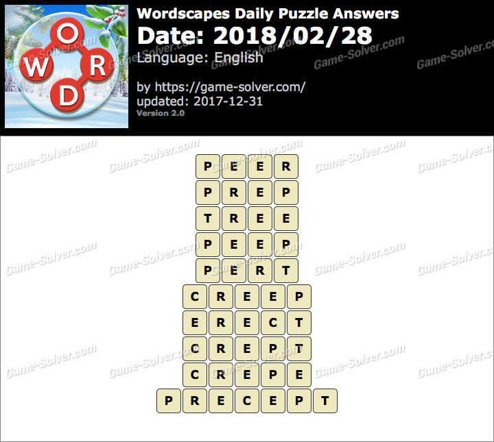 Wordscapes Daily Puzzle 2018 February 28 Answers