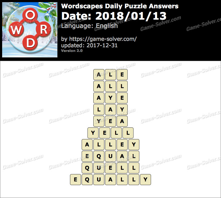 Wordscapes Daily Puzzle 2018 January 13 Answers