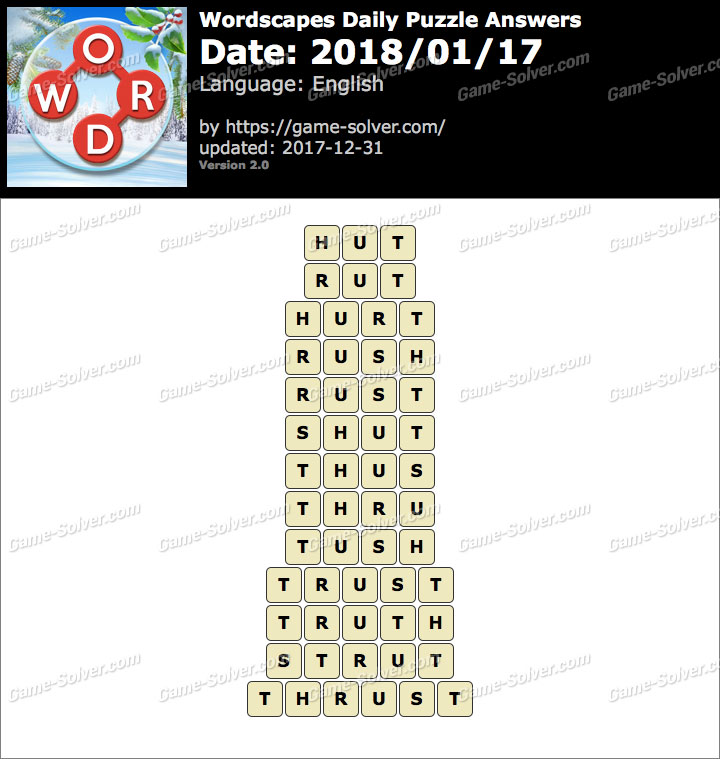 Wordscapes Daily Puzzle 2018 January 17 Answers