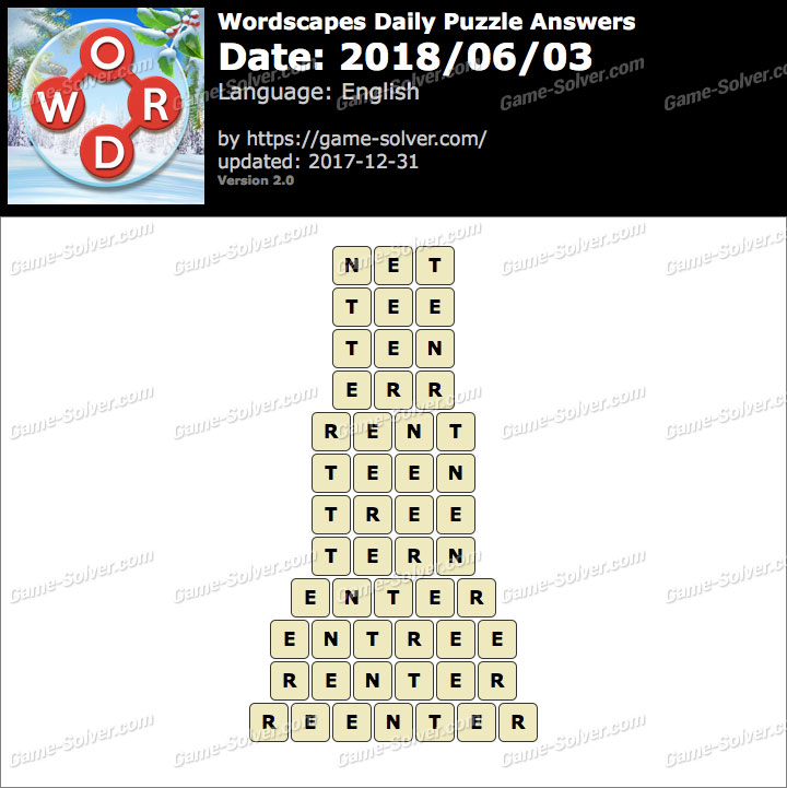 Wordscapes Daily Puzzle 2018 June 03 Answers