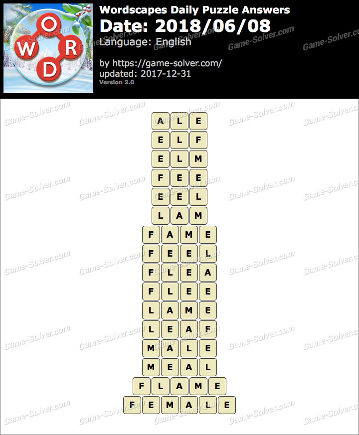 Wordscapes Daily Puzzle 2018 June 08 Answers