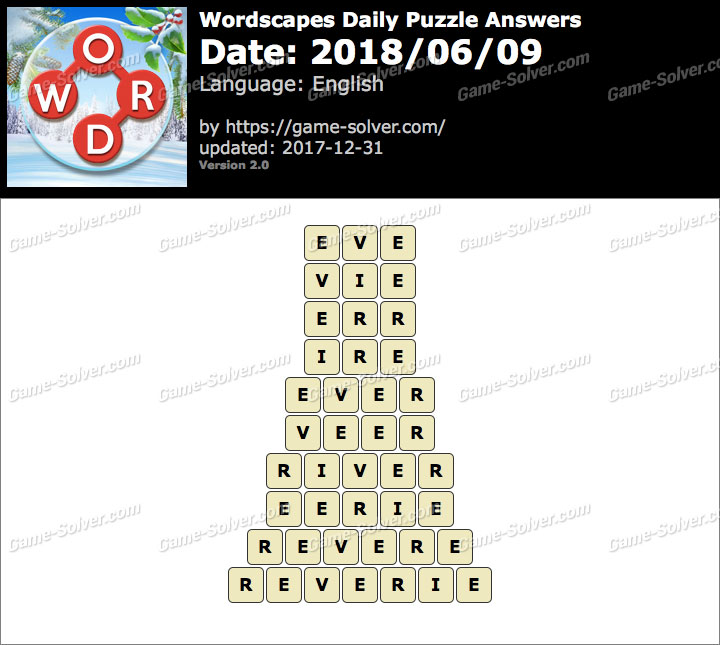 Wordscapes Daily Puzzle 2018 June 09 Answers