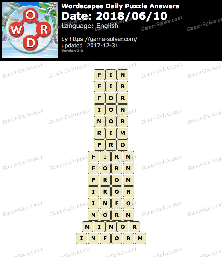 Wordscapes Daily Puzzle 2018 June 10 Answers