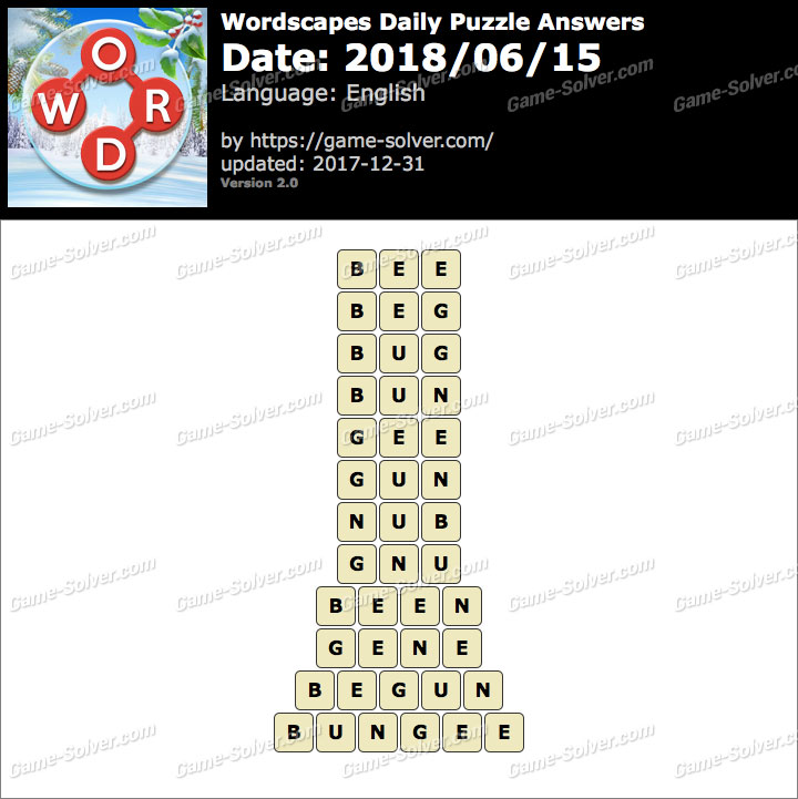 Wordscapes Daily Puzzle 2018 June 15 Answers
