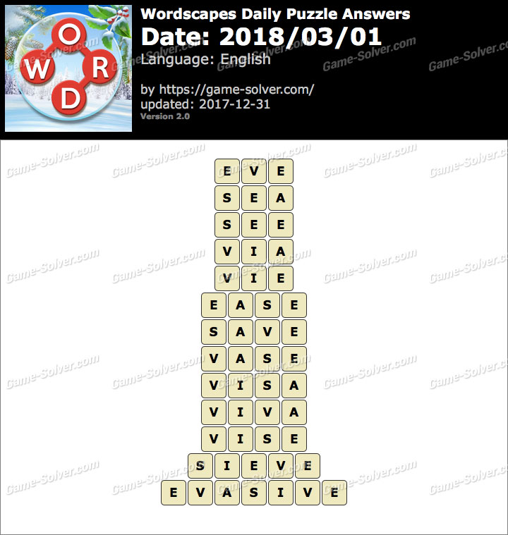 Wordscapes Daily Puzzle 2018 March 01 Answers