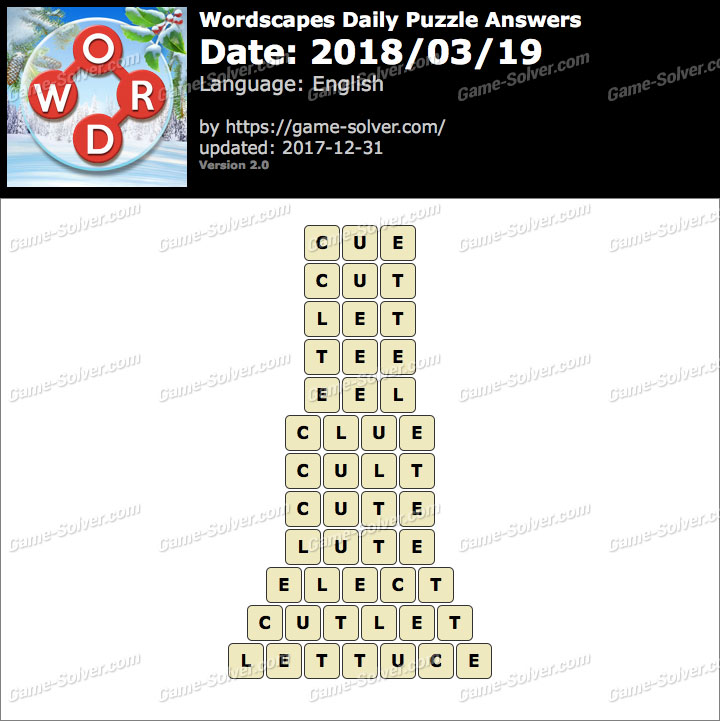 Wordscapes Daily Puzzle 2018 March 19 Answers