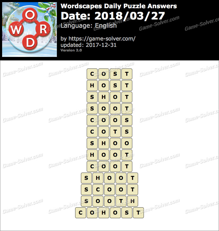 Wordscapes Daily Puzzle 2018 March 27 Answers