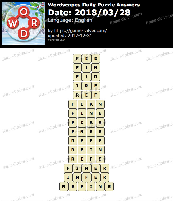 Wordscapes Daily Puzzle 2018 March 28 Answers