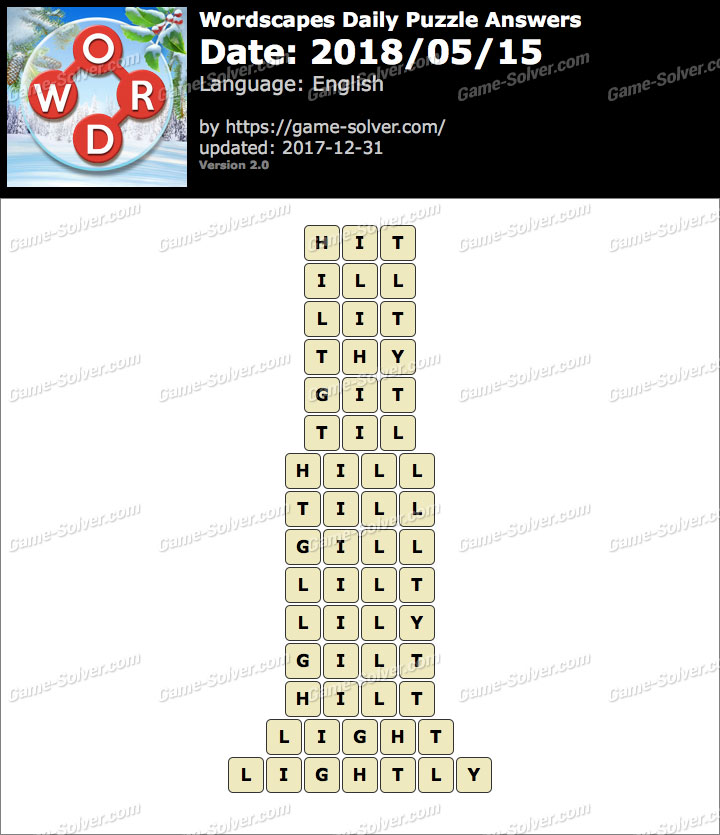 Wordscapes Daily Puzzle 2018 May 15 Answers