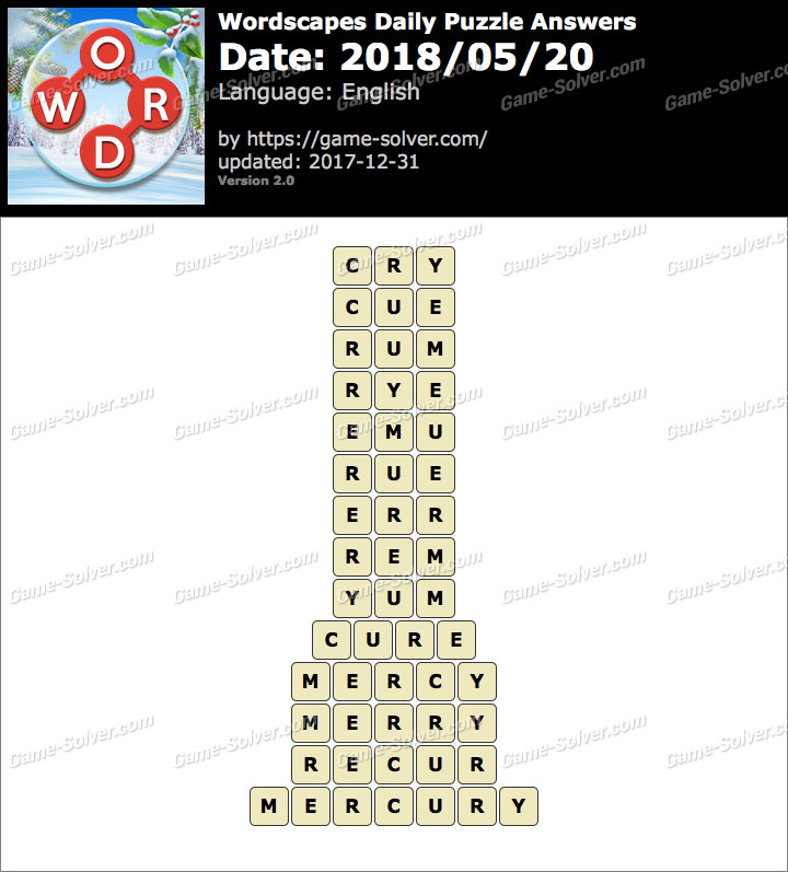 Wordscapes Daily Puzzle 2018 May 20 Answers