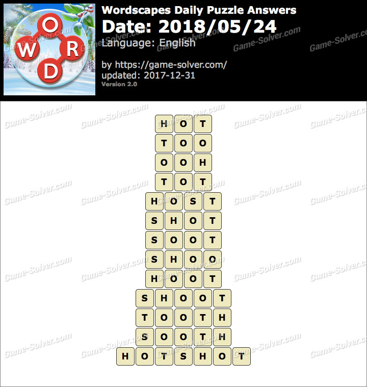 Wordscapes Daily Puzzle 2018 May 24 Answers