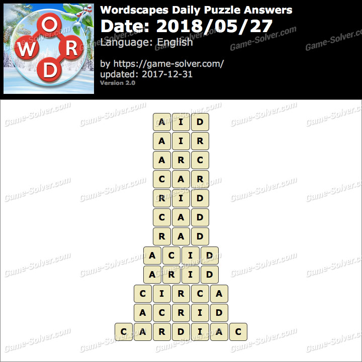 Wordscapes Daily Puzzle 2018 May 27 Answers