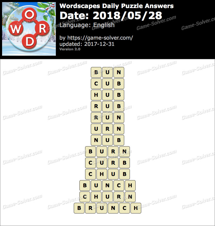 Wordscapes Daily Puzzle 2018 May 28 Answers