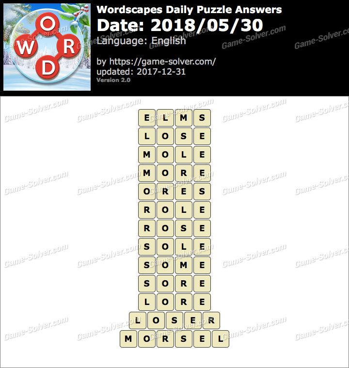 Wordscapes Daily Puzzle 2018 May 30 Answers