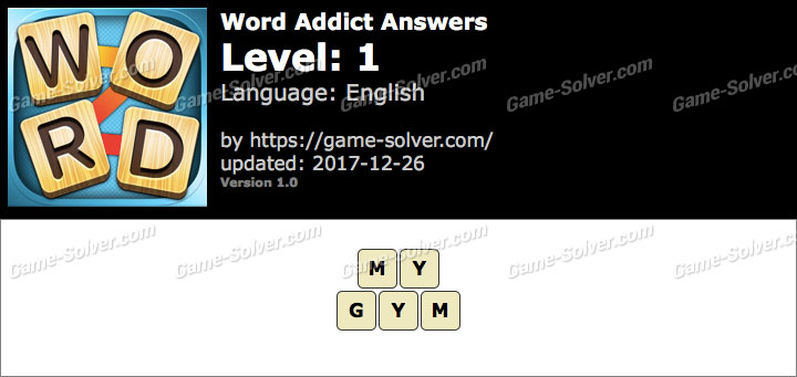 Word Addict Level 1 Answers