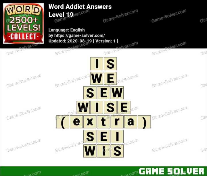 Word Addict Level 19 Answers