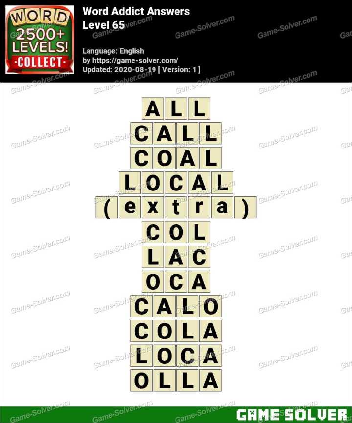 Word Addict Level 65 Answers