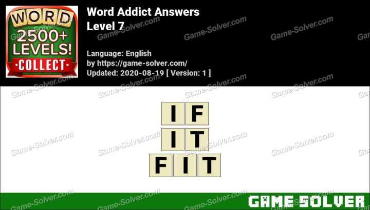 Word Addict Level 7 Answers