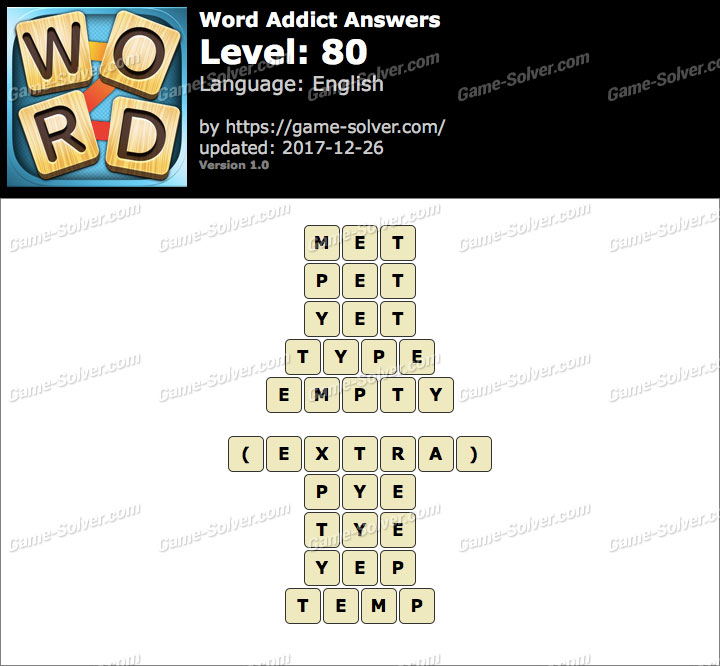 Word Addict Level 80 Answers
