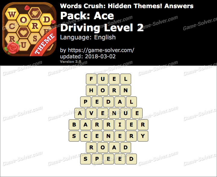 Words Crush Ace-Driving Level 2 Answers