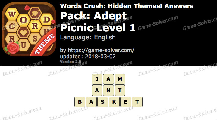 Words Crush Adept-Picnic Level 1 Answers