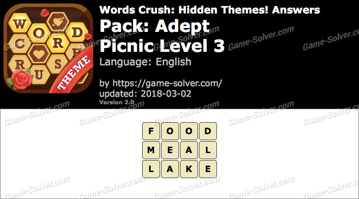 Words Crush Adept-Picnic Level 3 Answers