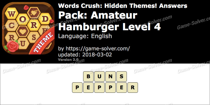 Words Crush Amateur-Hamburger Level 4 Answers