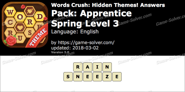Words Crush Apprentice-Spring Level 3 Answers