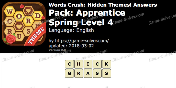 Words Crush Apprentice-Spring Level 4 Answers