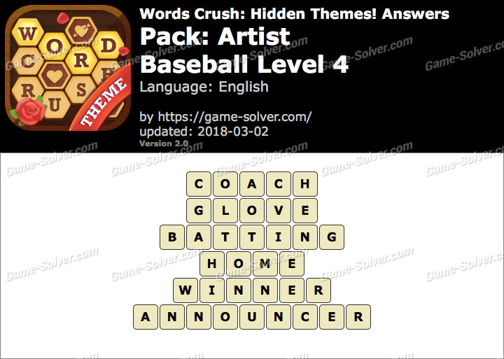 Words Crush Artist-Baseball Level 4 Answers