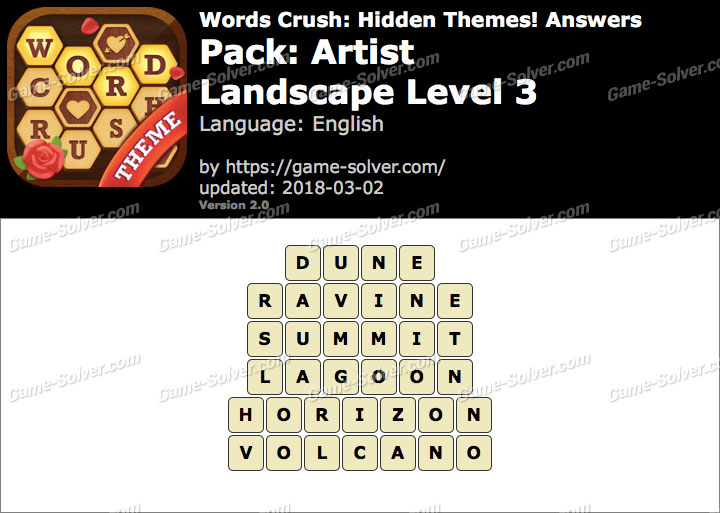 Words Crush Artist-Landscape Level 3 Answers