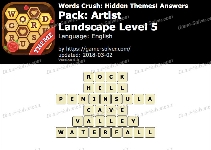 Words Crush Artist-Landscape Level 5 Answers