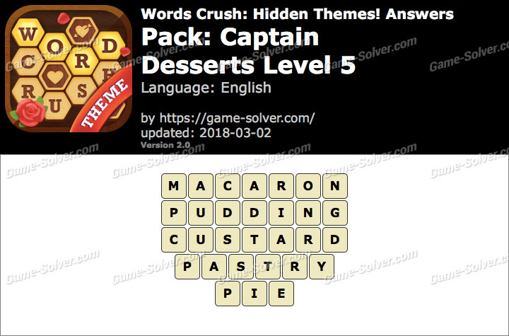 Words Crush Captain-Desserts Level 5 Answers