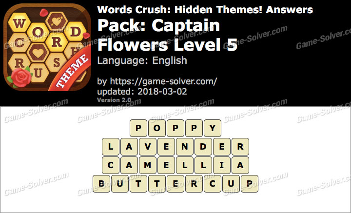 Words Crush Captain-Flowers Level 5 Answers