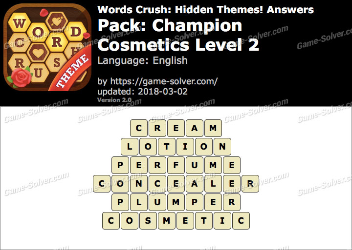 Words Crush Champion-Cosmetics Level 2 Answers