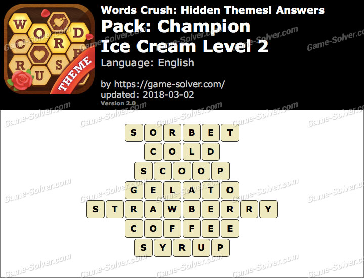 Words Crush Champion-Ice Cream Level 2 Answers