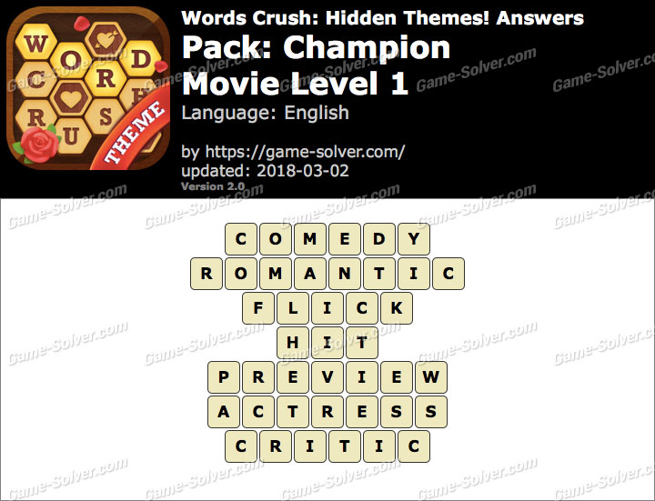Words Crush Champion-Movie Level 1 Answers
