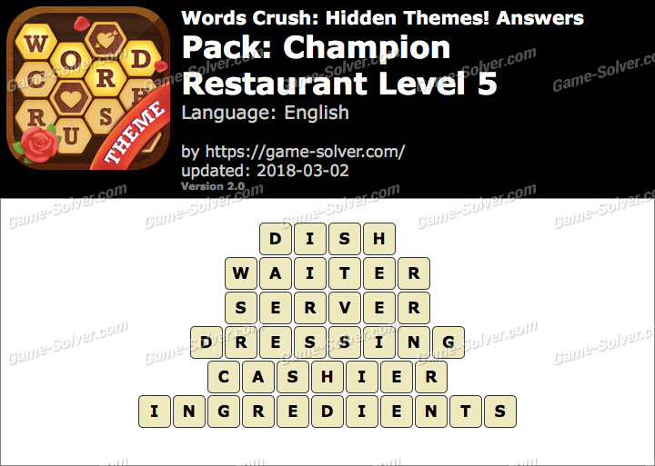 Words Crush Champion-Restaurant Level 5 Answers