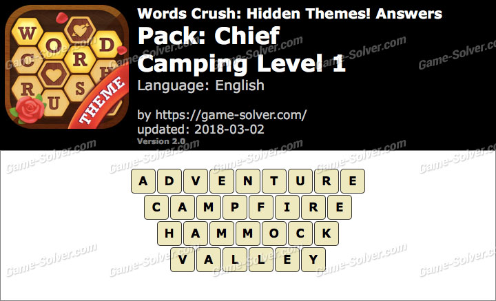 Words Crush Chief-Camping Level 1 Answers