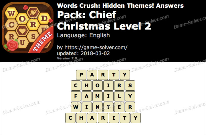 Words Crush Chief-Christmas Level 2 Answers