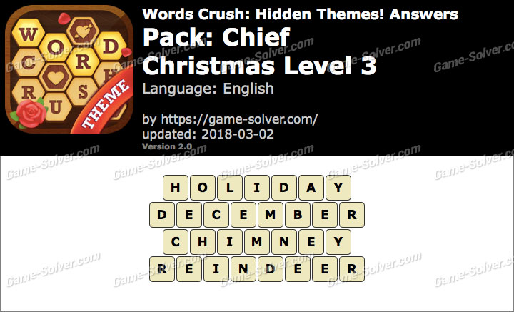 Words Crush Chief-Christmas Level 3 Answers