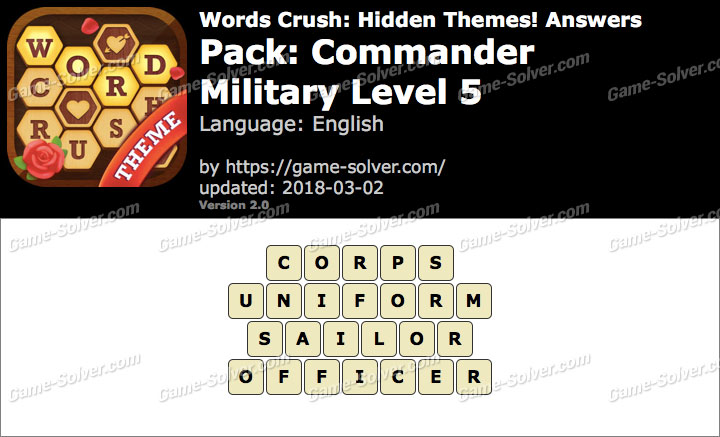 Words Crush Commander-Military Level 5 Answers