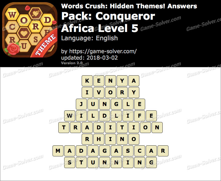 Words Crush Conqueror-Africa Level 5 Answers