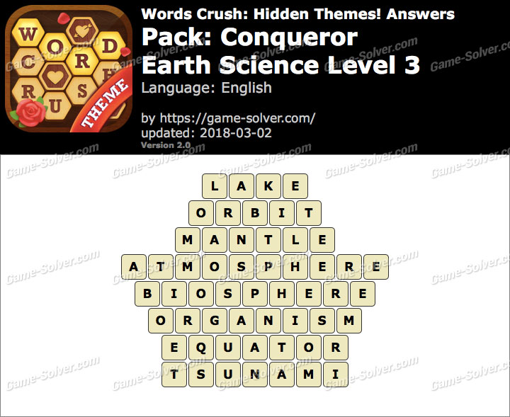 Words Crush Conqueror-Earth Science Level 3 Answers