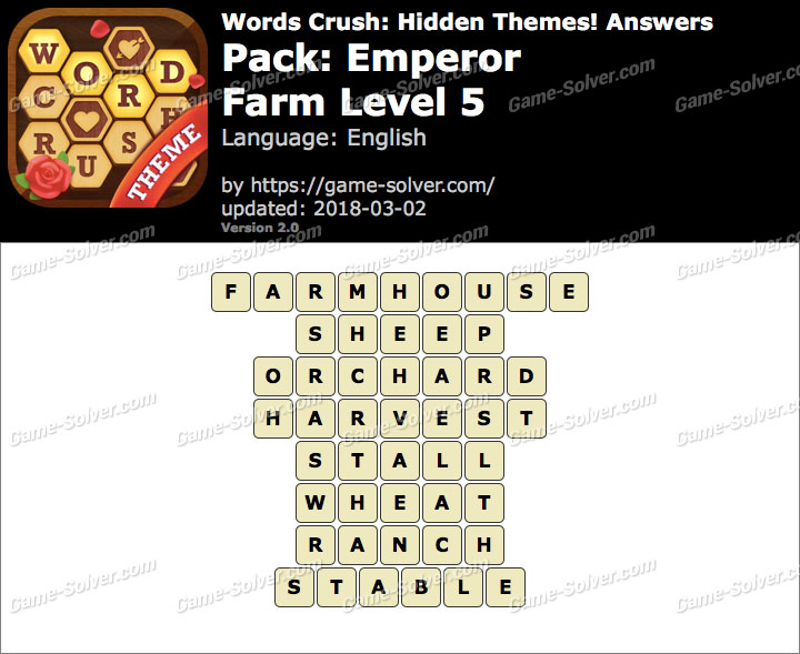 Words Crush Emperor-Farm Level 5 Answers